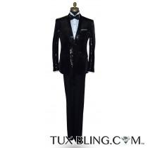 Black Sequins Shawl Collar Tuxedo Ensamble