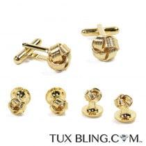 Gold Love Knot Cufflinks and Stud Set