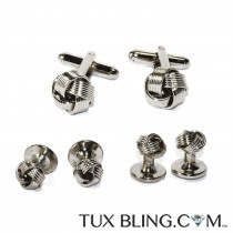 Silver Love Knot Cufflinks and Stud Set
