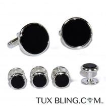 Genuine Onyx Cufflinks and Stud Set