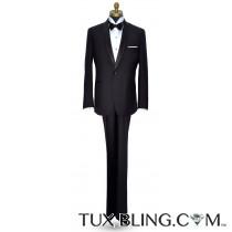 BLACK SHAWL LAPEL MODERN FIT TUXEDO - COAT AND PANTS SET