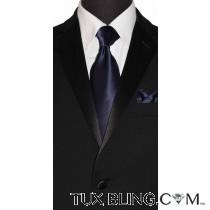 MIDNIGHT BLUE-NAVY SILK DRESS TIE