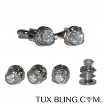 CZ CUFFLINKS AND STUDS SET IN SILVER FINISH