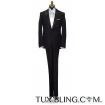 BLACK MEN'S PEAK LAPEL TUXEDO - ULTRA SLIM FIT- COAT AND PANTS SET