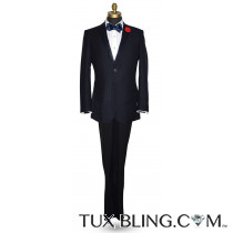 Midnight Blue Swiss Pique Texture Tuxedo Ensemble