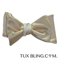 Champagne Bow Tie and Pocket Hankie -SELF TIE