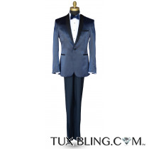Black-Blue Glaze Shawl Collar Tuxedo Ensemble