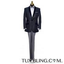 Blue Velvet with Silver Geometric Design Shawl Collar Dinner Jacket/Tuxedo- Ensemble