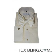 SAN MIGUEL OFF-WHITE TUXEDO SHIRT WITH PLEATS