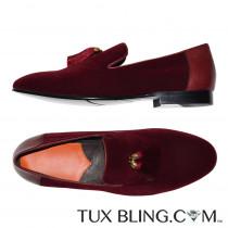 BURGUNDY-WINE VELVET SLIP-ON TUXEDO SHOES