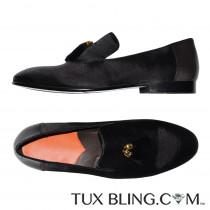 BLACK VELVET SLIP-ON TUXEDO SHOES