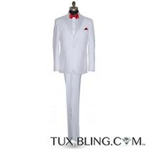 WHITE PEAK LAPEL TUXEDO WITH WHITE PANTS ENSEMBLE