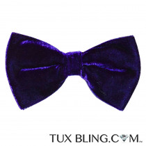 REGAL PURPLE VELVET BOWTIE,  PRE-TIED