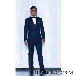 Navy Blue Tuxedo with Matching Vest and Black Satin Bow Tie