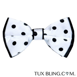 WHITE BOWTIE WITH BLACK POLKA DOT,  PRE-TIED