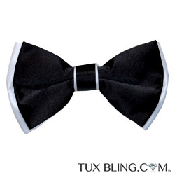 BLACK BOWTIE WITH WHITE TRIM,  PRE-TIED