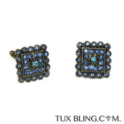 Sapphire Blue Crystal Cufflinks with Arctic Blue Center, Antique Gold Finish