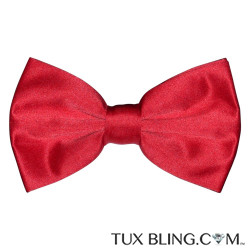 RED SATIN BOWTIE, PRE-TIED