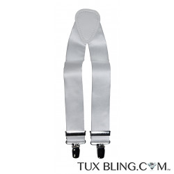 WHITE SATIN SUSPENDERS