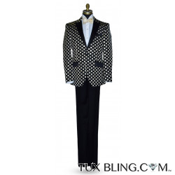 Black with Ivory and Gold Square Tuxedo Ensemble