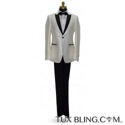 Winter White Pique Tuxedo with Black Peak Lapel Tuxedo