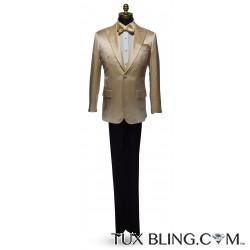 Champagne Satin Tuxedo Jacket Ensemble