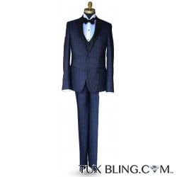 BLUE TEXTURED TUXEDO ENSEMBLE 3 PIECE INCLUDING VEST