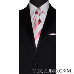 FANDANGO PINK AND WHITE SILK DRESS TIE