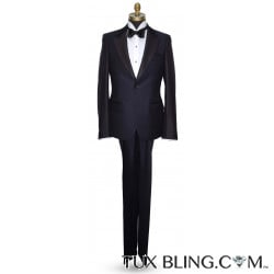NAVY PEAK LAPEL TUXEDO WITH TEXTURED FABRIC-ULTRA SLIM