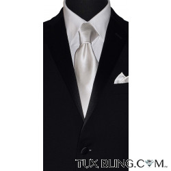 WHITE SILK DRESS TIE