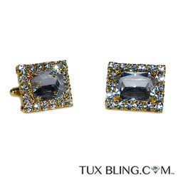 CUFFLINKS WITH SMOKE COLOR CENTER AND CRYSTAL