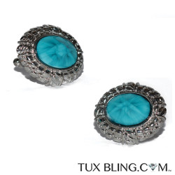 TURQUOISE COLOR BLING CUFFLINKS