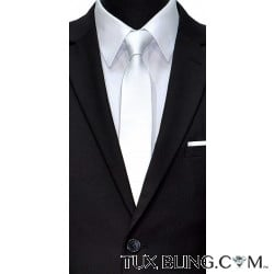 WHITE SATIN SKINNY DRESS TIE-LOW SHEEN