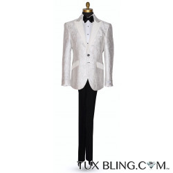 PEARL WHITE BROCADE TUXEDO WITH SILVER HIGHLIGHTS