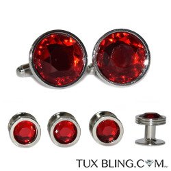 GARNET RED CUFFLINKS AND STUDS