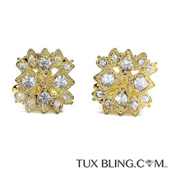 GOLD FINISH CUFFLINKS WITH CRYSTALS