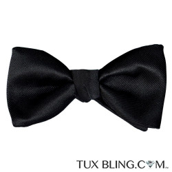 BLACK SATIN BOWTIE WITH TEXTURE, PRE-TIED