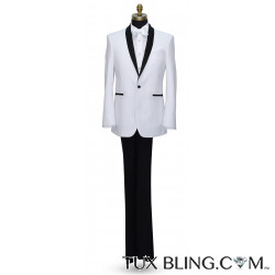 WHITE TUXEDO WITH BLACK SHAWL COLLAR