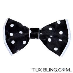 BLACK BOWTIE WITH WITE POLKA DOT, PRE-TIED