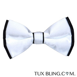 WHITE BOWTIE WITH BLACK TRIM, PRE-TIED