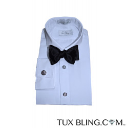 TUX BLING WHITE PLAIN FRONT TUXEDO SHIRT