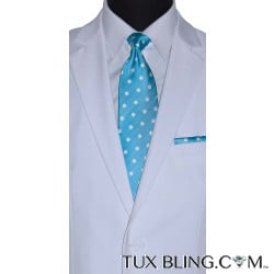 TURQUOISE DRESS TIE WITH WHITE POLKA DOT