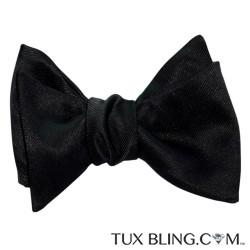 BLACK SATIN BOWTIE WITH TEXTURE-TIE YOURSELF