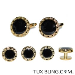 FANCY GOLD AND BLACK STUDS AND CUFFLINKS