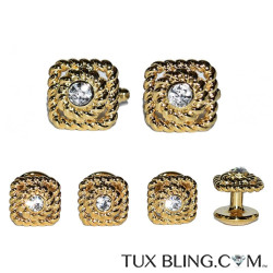 GOLD BAROQUE CUFFLINKS AND STUDS