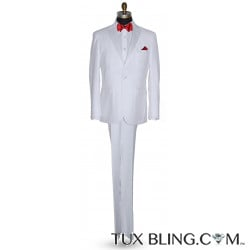 WHITE PEAK LAPEL TUXEDO WITH WHITE PANTS ENSEMBLE
