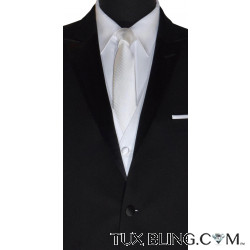 WHITE DRESS TIE WITH SUBTLE STRIPE-TIE YOURSELF