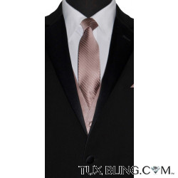 ROSE GOLD DRESS TIE WITH SUBTLE STRIP, TIE-YOURSELF