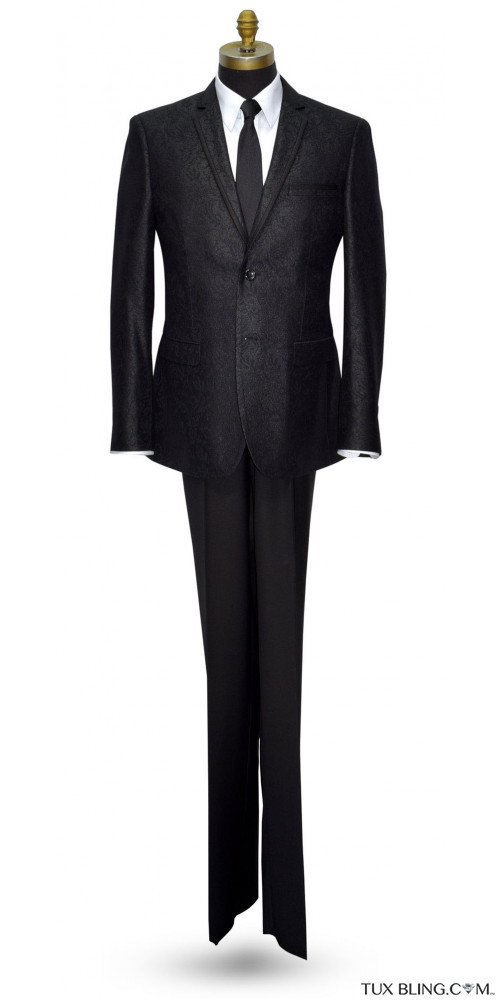 BLACK BROCADE TUXEDO WITH SATIN TRIM ENSEMBLE