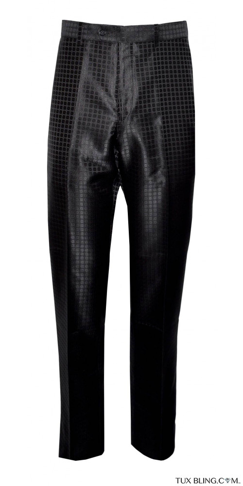 BLACK GEOMETRIC SATIN PANTS